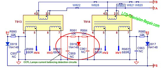lcd tv inverter schematic diagram
